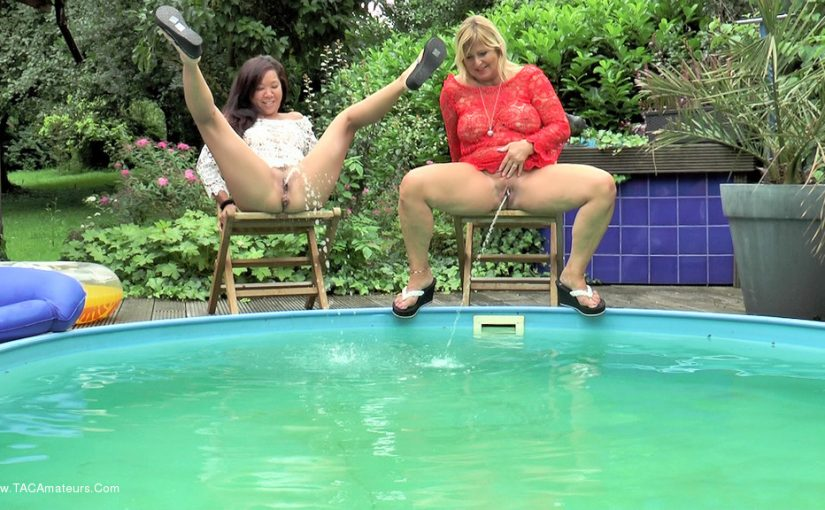 Exhibitionist wives take off their panties and piss in the swimming pool