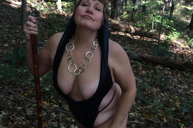 Grandma gets naked in the woods and sucks a nice hard cock